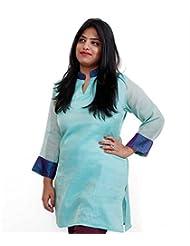 Viniyog Women Hand Woven Chanderi Cotton-Silk Tissue Pista-Green Kurti