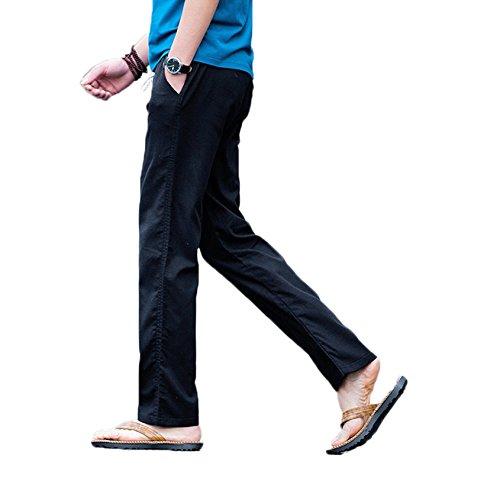 homme pantalon en lin de loisirs respirant avec poches taille elastique cordon de serrage tout. Black Bedroom Furniture Sets. Home Design Ideas