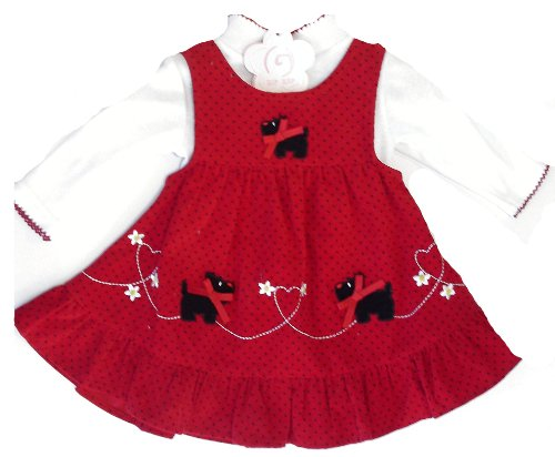 Red Girls 2pc Cord Scottie Dog Dress & Top 3-6 Months