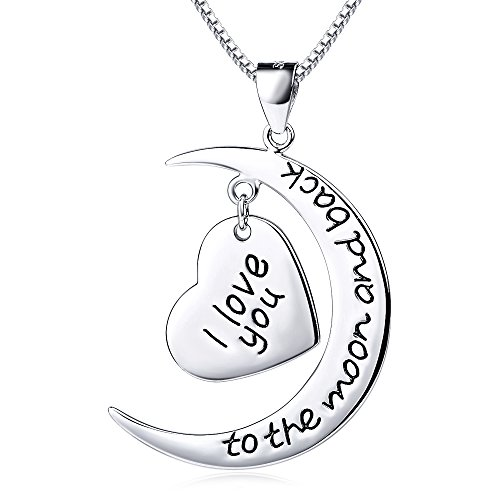 "YFN Sterling Silver ""I Love You to the Moon and Back"" Heart Charm Pendant Necklace 18"""
