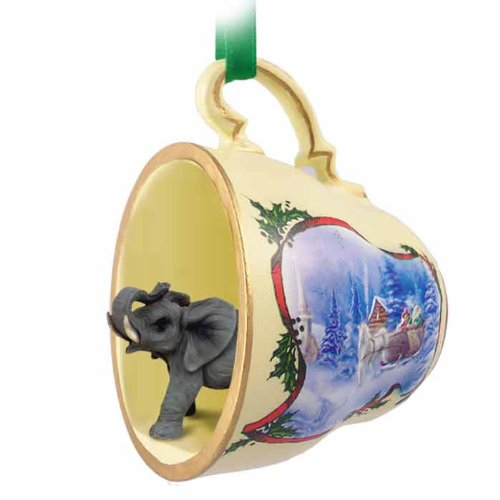 Elephant Tea Cup Sleigh Ride Holiday Ornament (Set Of 6)