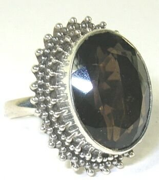 Smoky Quartz Sterling Silver Ring - Size 8.75