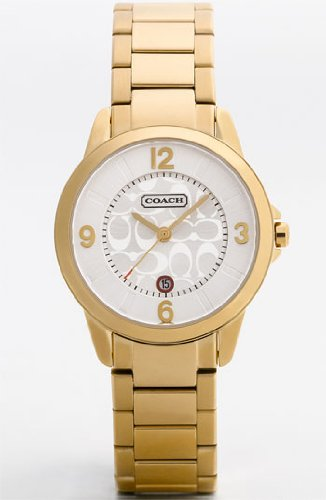 Coach Women's Classic Date Watch Gold Plated Stainless Steel Bracelet and Case Signature Logo Etching Dial New with Tag