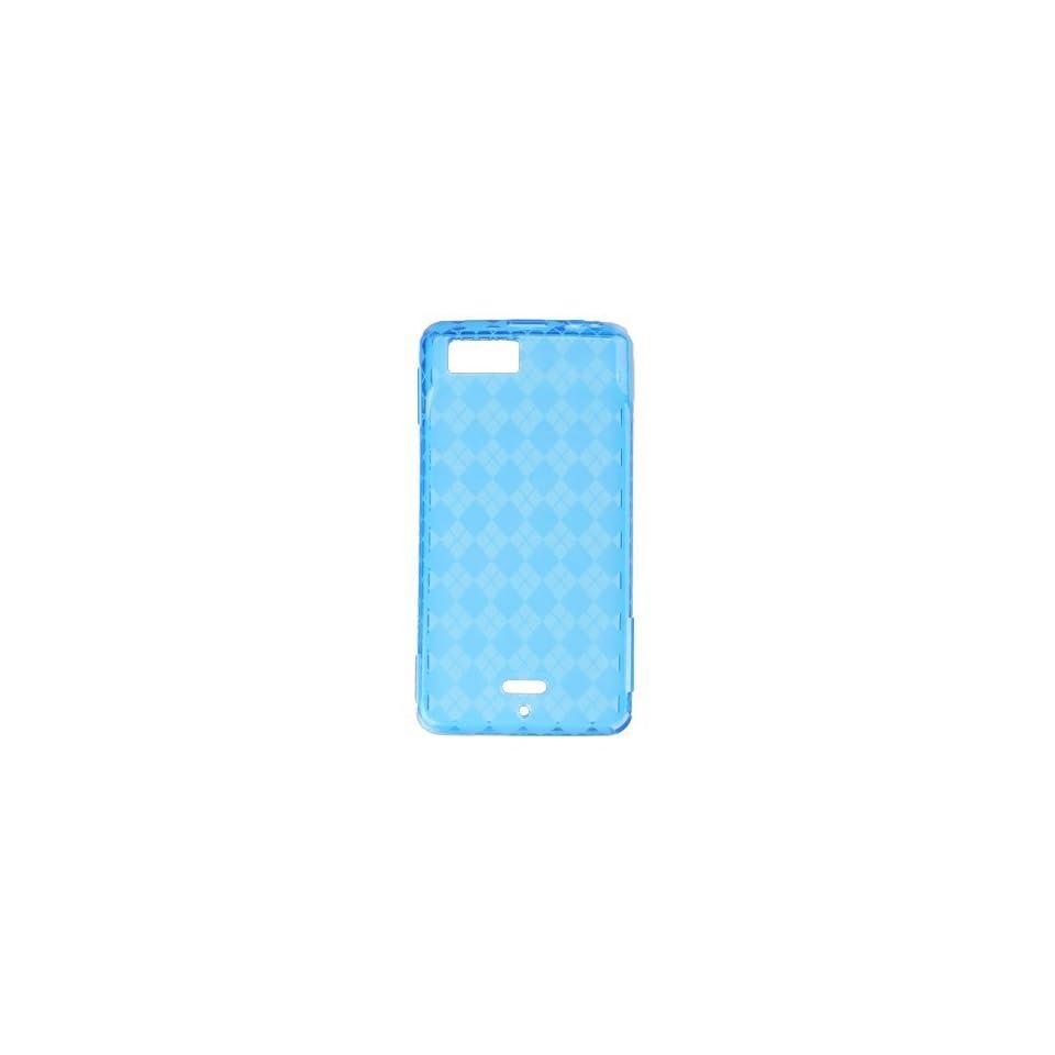 Blue Plaid Checker Soft Crystal Tpu Skin Gel Cover Case for Motorola Droid X MB810