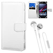 buy Premium Faux Leather Universal Wallet Case For Sony Xperia Series Smartphones + Vangoddy Stereo Headphones (White)