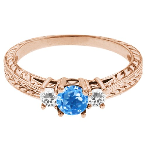 0.61 Ct Round Swiss Blue Topaz White Topaz 14K Rose Gold 3-Stone Ring