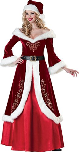 Mocoz Women's Mrs Claus Costume, Flocked Velvet Dress