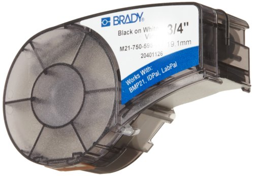 "Brady M21-750-595-WT BMP21 Tape B- 595 Indoor/Outdoor Vinyl Film Size: 3/4"" x 21' BLK/WHT"