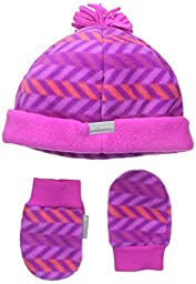 Columbia Baby-Girls Infant Frosty Fleece Hat and Mitten Set, Tango Pink/Chevron Print, 18-24 Months