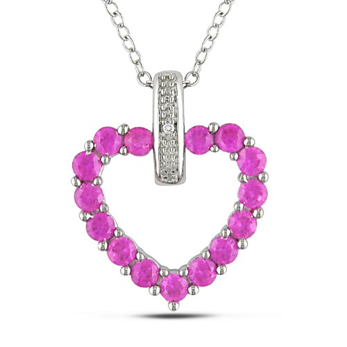 Sterling Silver 1 1/3 CT TGW Created Pink Sapphire 0.004 CT TDW Diamond Heart Pendant (G-H, I3)