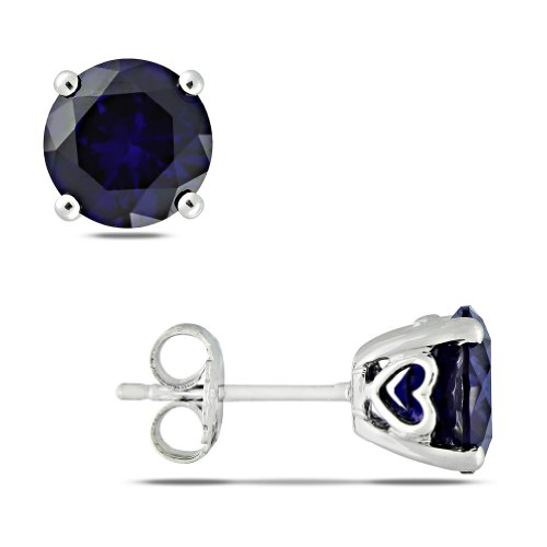 Sterling Silver 4 4/5 CT TGW Created Sapphire Stud Earrings