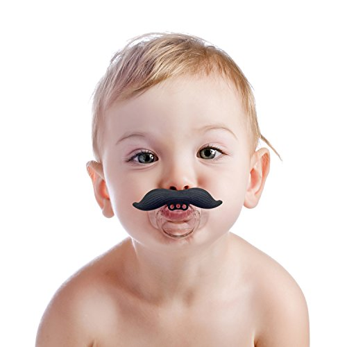 Mustache Pacifier - BPA Free Pacifier for Baby 0-6 6-12 Months - For Infants, Newborns, Boys and Girls - Funny Novelty Pacifier - Full Money Back Guarantee - 1