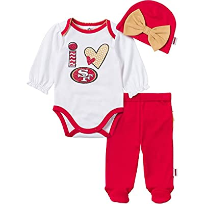 NFL San Francisco 49ers Baby Girl Bodysuit, Footed Pant and Cap Set