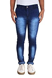 Bdow Men's denim slim fit silky jeans ( Blue ) (32, Navy blue)