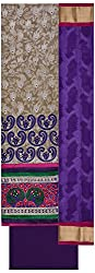 Krati Collection Women's Chanderi Unstitched Dress Material (Cream & Violet)