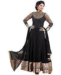 Shayona Women's Net Semi Stitched Dress Material_SSE722001SRK_Black_Free Size