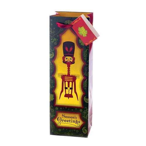 Imprinted Wing Corkscrew Corkcracker One Bottle Holiday Wine Bag w/ Ribbon Handle & Gift Card red wine corkscrew with heart pattern