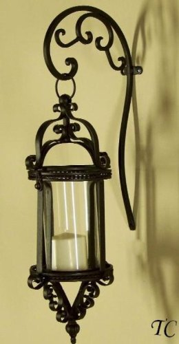 Wall Sconces Candles Lantern : Wall Sconces: Tuscany Wrought Iron Scroll Wall Candle Lantern Sconce