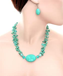 Fashion Assorted Turquoise Stones Necklace Set