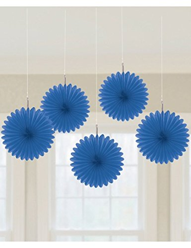 Mini Hanging Fan Deco Royal Blue 5 ct [6 Retail Unit(s) Pack] - 29055.105