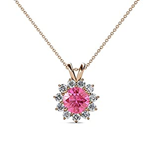 Pink Tourmaline & Diamond Floral Halo Pendant 1.28 ct tw in 14K Rose Gold with 18 Inches 14K Gold Chain