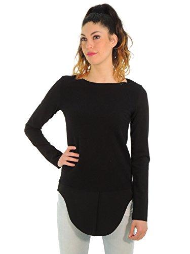 Dondup maglia donna maglione girocollo con fondo in contrasto di tessuto M936 (M, NERO)