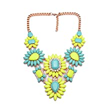 buy Girl Era Womens Gold Box Chain Best Acrylic Crystal Resin Flowers Collar Charm Necklaces