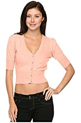 G2 Chic Women's Solid Ruched Short Sleeve Bolero