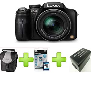 Panasonic Lumix FZ48 12.1MP +8Gb + Case+ Battery (3.0 inch TFT LCD Display, 25mm Wide-angle 24x Optical Zoom)