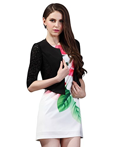 Maxchic Women's Collarless 3/4 Lace Sleeve Cropped Lace Jacket Blazer X02871S12C,Black,Medium