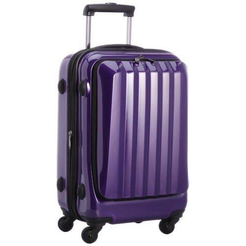 容量アップ拡張ジッパー付フロントオープンスーツケース パープル