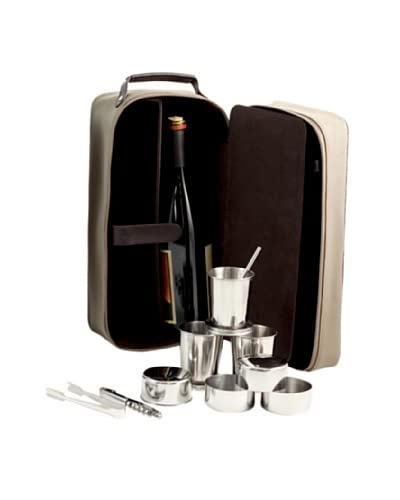 Bey-Berk 7-Piece Travel Bar Set with Ultra Suede & Leather Case