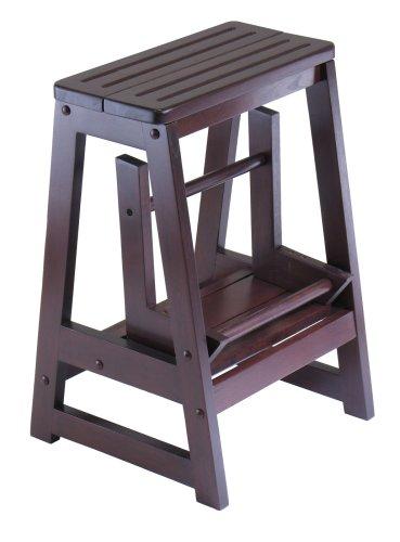 Winsome Wood Step Stool Antique Walnut Ladder Level