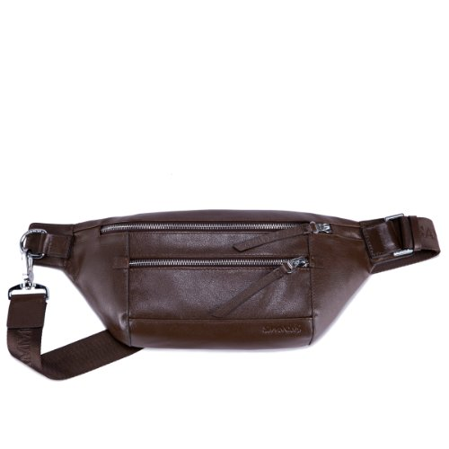Top Layer Cowhide Series Leisure Men Large Genuine Leather Waist Bag Fanny Pack (Brown)