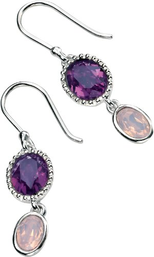 Elements Sterling Silver, Ladies, E4461, Swarovski Amethyst and Rose Water Opal Double Drop Earring