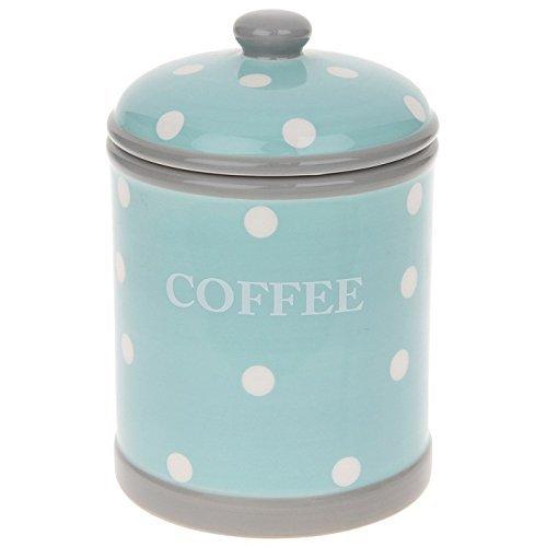 Home Sweet Home Zartes blau & Weiß Polka Dots Keramik Aufbewahrungsglas für Kaffee