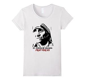 Women's Mother Saint Teresa Shirt - Portrait Pray Shirt Small White
