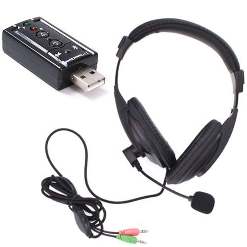 Hde Stereo Over Ear Pro Gaming Headset With Microphone For Pc W/ In-Line Volume Control And Usb Sound Card