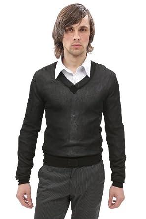 D & G Men's V Neck Sweater Black Sz S rk0540