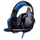 VersionTech EACH G2000 3.5mm ステレオ LEDライト ゲーム ゲーミングヘッドセットヘッドフォンヘッドホン マイク付き PCゲーム用 騒音隔離&ボリュームコントロール「ブルー」 ランキングお取り寄せ