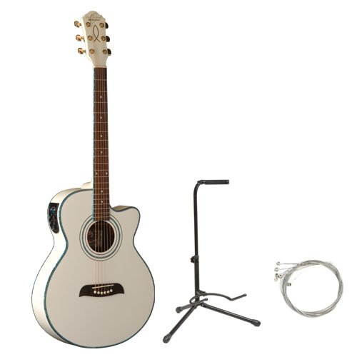 Oscar Schmidt by Washburn OG10CE Full Size Cutaway Acoustic Electric Guitar Combo with AB Gig Bag, Stand, and Strings - White