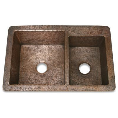 "Copper 36"" x 22"" Hammered 60/40 Kitchen Sink Finish: Matte Nickel"
