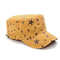 Mens Stars Pattern Adjustable Buckle Back Casual Peaked Cap
