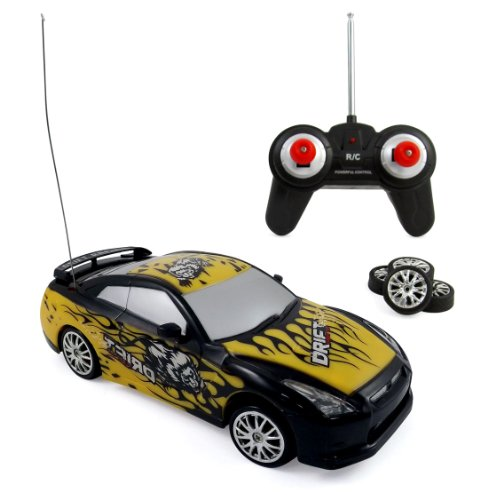Super Fast Drift Champion R/C Sports Car Remote Control Drifting Race Car 1:24 + Headlights, Backlights, Side Lights + 2 Sets Of Tires
