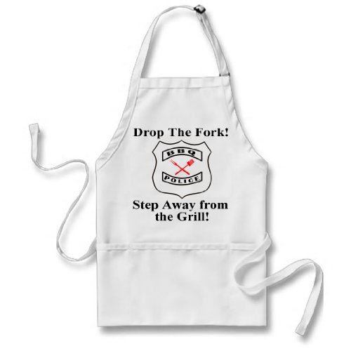 Fathers Day Gift, BBQ Apron, BBQ Police Apron with Red Glittered Cooking Utensils, Great Fathers Day Gift