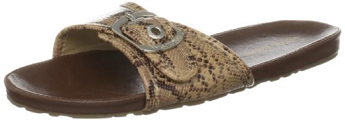 Isotoner Women's Side Buckle Footbed Beige Snake