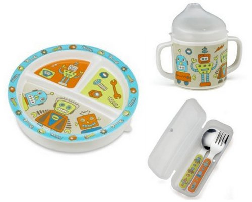 Sugarbooger Divided Plate, Sippy Cup, and Silverware Set-Retro Robots - 1