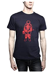 TOMO Men's Cotton Navy Blue Color Round Neck MUSIC ASTRONAUT Printed T-shirt