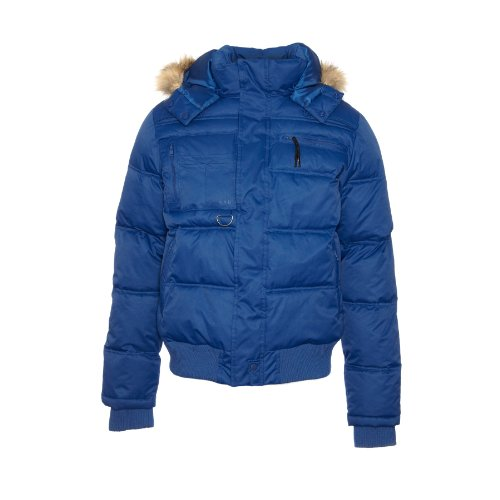 Blend - Blue Mens Padded Bomber Jacket With Hood Size X Large