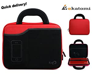 Travel Case for Portable DVD Player Philips PD9000/37 - Red & Black. Bonus Ekatomi Screen Cleaner Sticker.